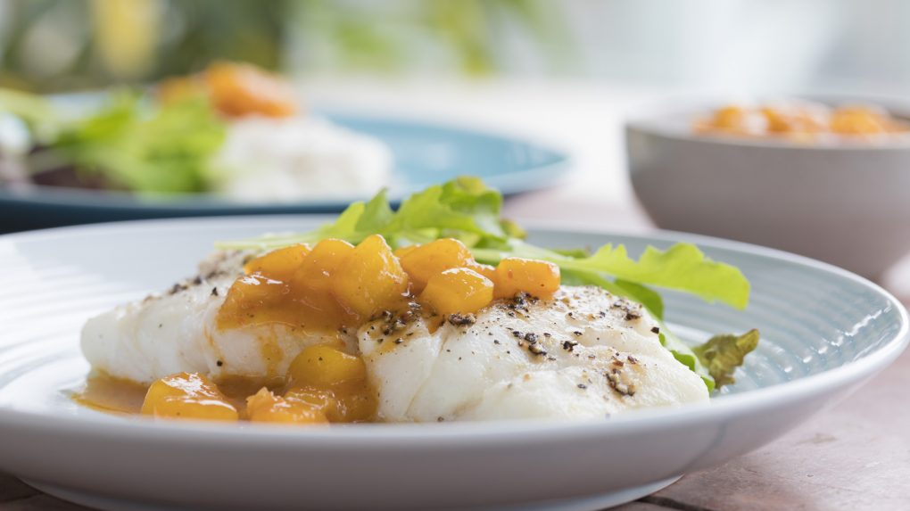 Grilled Halibut with Ginger Mango Salsa - Recipe by The Ginger People