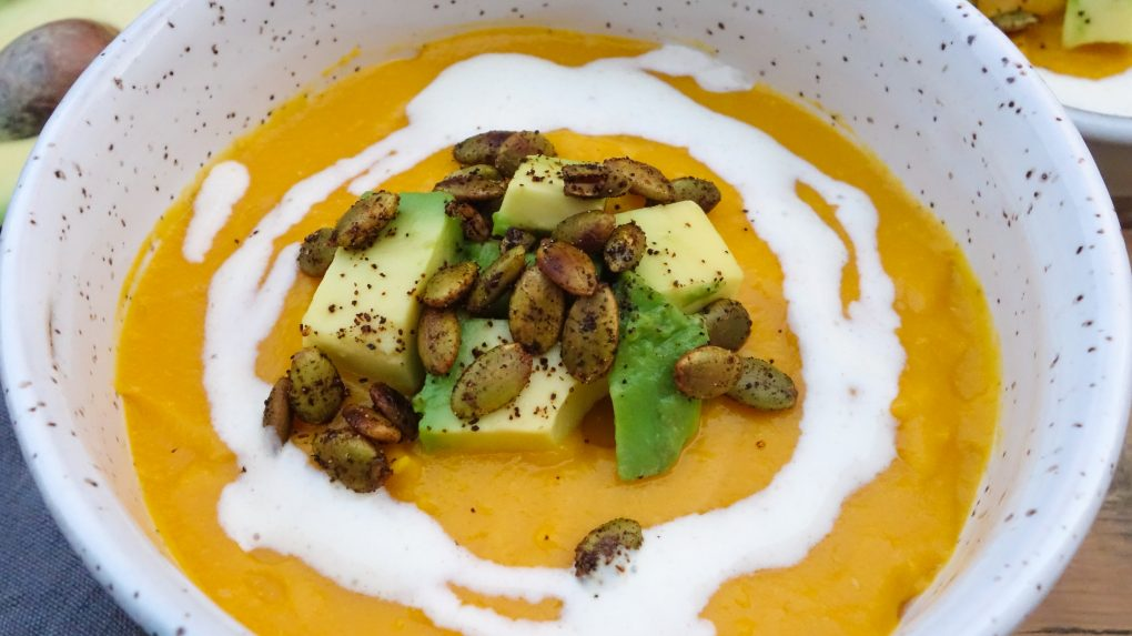 Roasted Butternut Squash and Ginger Soup with Cumin Spiced Yogurt and Chili Toasted Pepitas - By the Ginger People