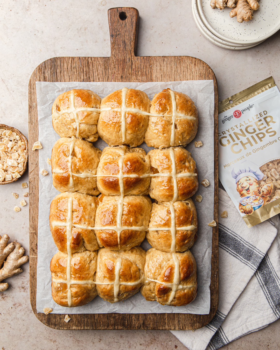 Hot Cross Buns with ginger